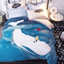 Ocean Blue and White Whale Print Ocean Wonders Marine Life 100% Cotton Twin, Full Size Bedding Sets for Kids | Boys