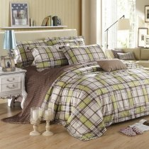 Coffee Light Green and Grey Plaid Print and Polka Dot Design Masculine Style Reversible 100% Egyptian Cotton Full, Queen Size Bedding Sets