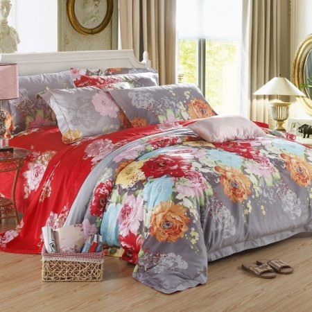 Dark Red Sunset Orange Grey and Aqua Vintage Flower Print Noble Excellence Asian Style Luxury Egyptian Cotton Full, Queen Size Bedding Sets
