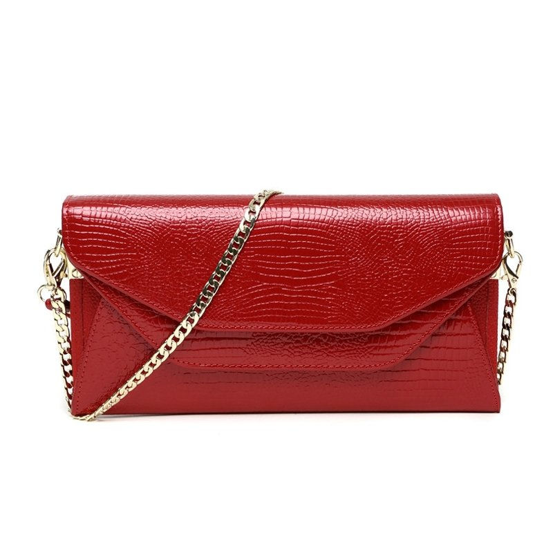 Red Cowhide Leather Embossed Crocodile Lady Evening Party Envelope Clutch Hipster Magnetic Closure Chain Flap Crossbody Shoulder Bag