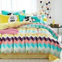 Aqua White Coral Pink and Dark Purple Bright Colorful Aztec Stripe Print Personalized 100% Cotton Twin, Full Size Bedding Sets
