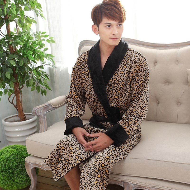 Leopard Print Bathrobe Night Robe Winter Pajamas for Men Boys M L XL XXL