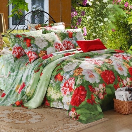 Forest Green Crimson Red and White Flower Print Rustic Country Chic Rainforest Scene 100% Egyptian Cotton Full, Queen Size Bedding Sets