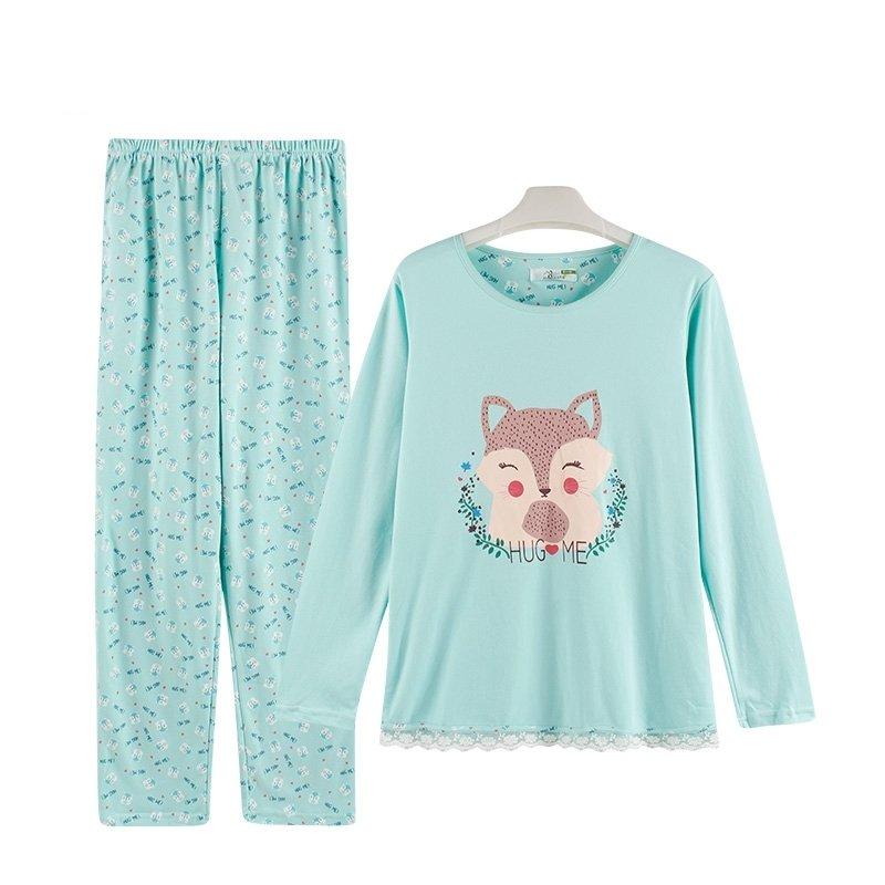 Green Fox Print Cute Stylish Pajamas for Girls XL