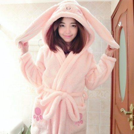 Cartoon Long Ears Pattern Bathrobe Robe Cute Spa Hooded Flannel Pajamas for Girls M L