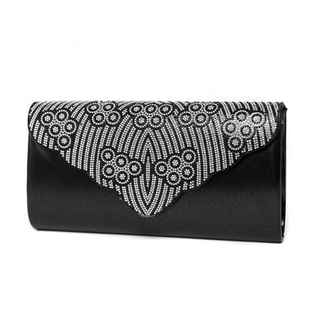 Gorgeous Black Faux Leather Women Casual Party Flap Evening Clutch Wallet Bohemian Western Bling Rhinestone Crossbody Shoulder Bag
