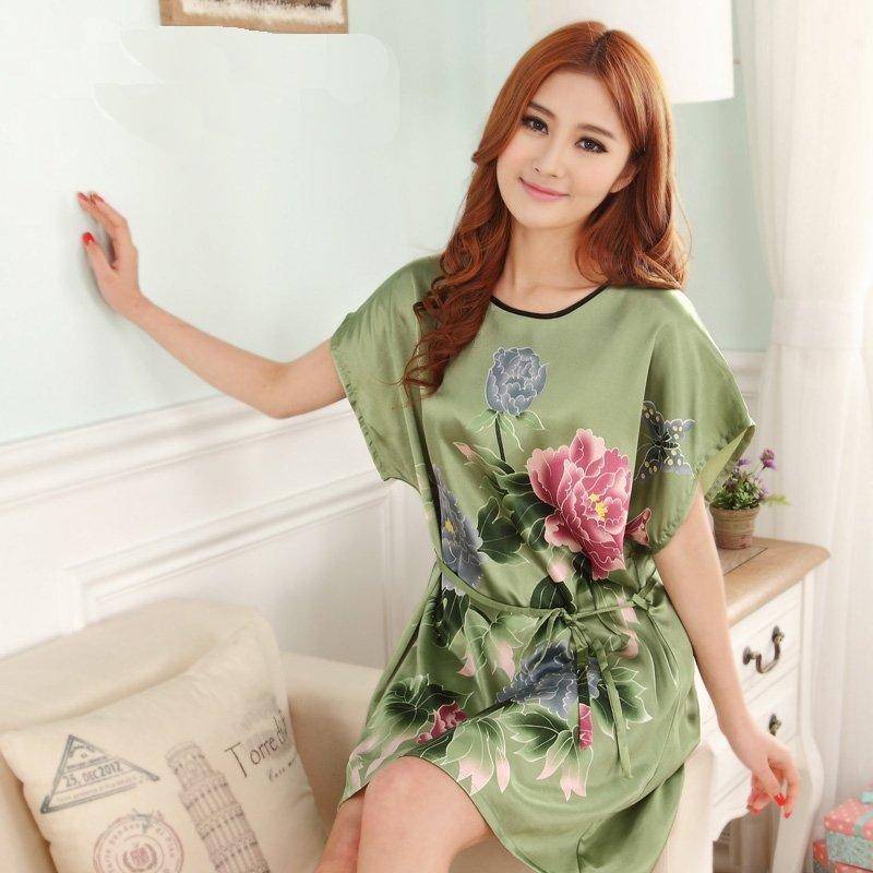 Dark Green Peony Flower Sexy Elegant One Piece Free Size Girls Pajamas