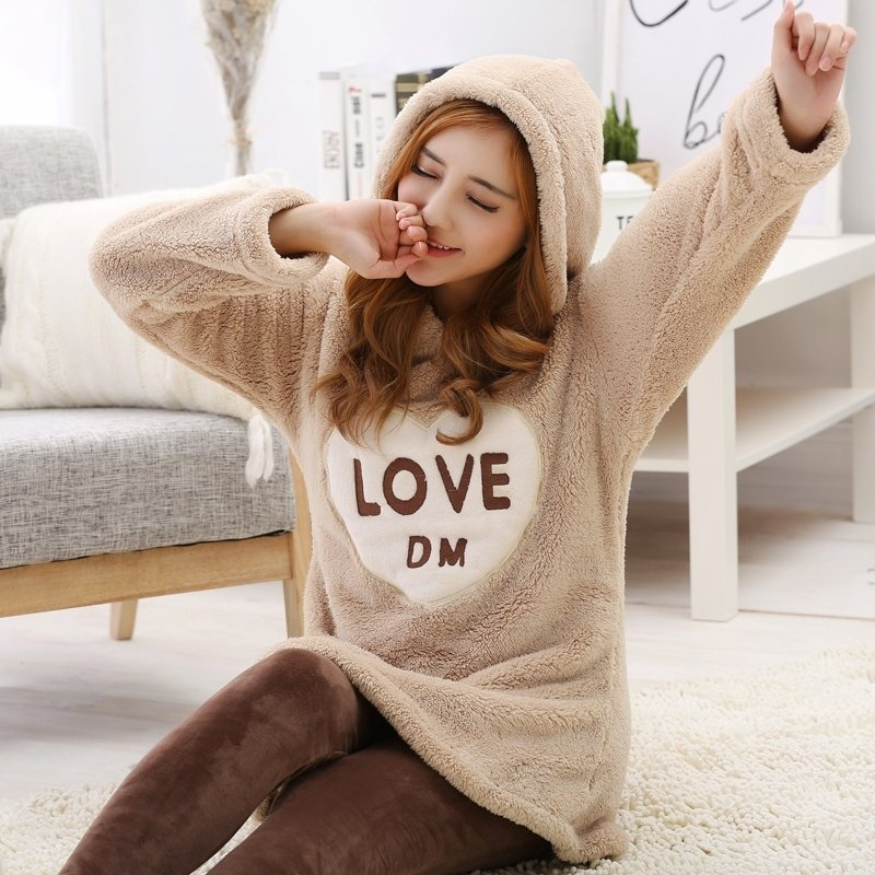 Coffee Comfortable Warm Adorable Flannel Hooded Pajamas for Women M L XL