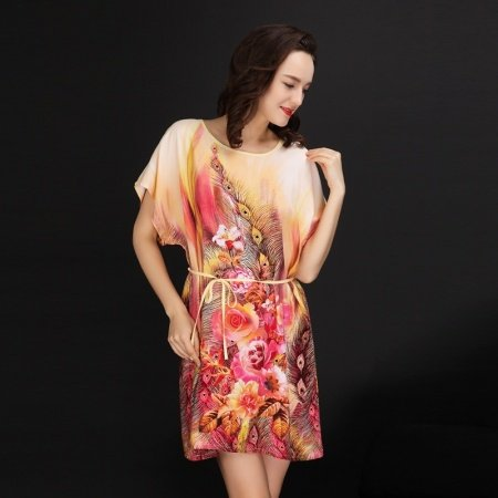 Peacock Print Viscose Midi Colorful Dress Women Free Size Pajamas