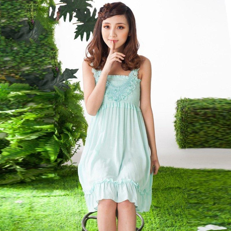 100% Cotton Knit Green Ruffled Falbala and Flouncing Sleeveless Dress Elegant Princess Pajamas for Girls M L XL XXL