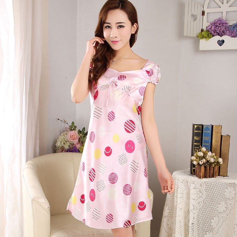 Pink Geometric Circles Print Short Sleeve Midi Nightdress Sweet Youth Pajamas M L XL