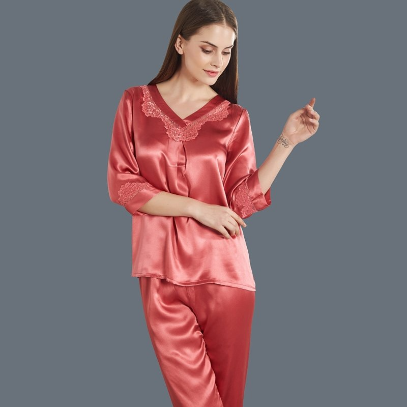 Brick Red 100% Pure Silk Embroidered Lace Shirt Cropped Trousers Sexy Classic Pajamas for Feminine Girly M L XL