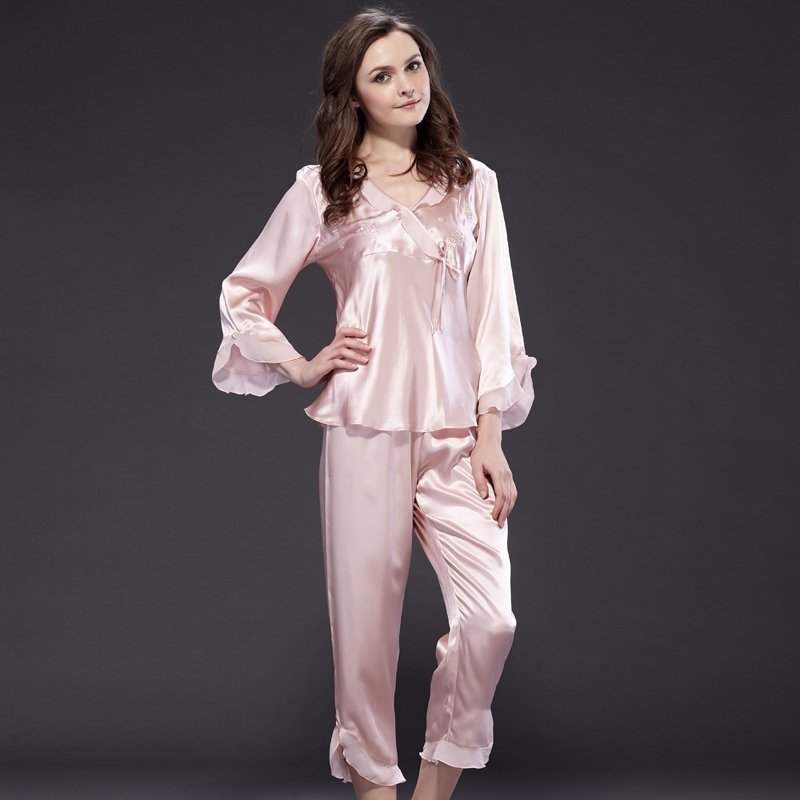 Misty Rose 100% Pure Silk Delicate Embroidery Bowknot Falbala and Flouncing Long Shirt Pants Classic Luxury Women Pajamas M L XL