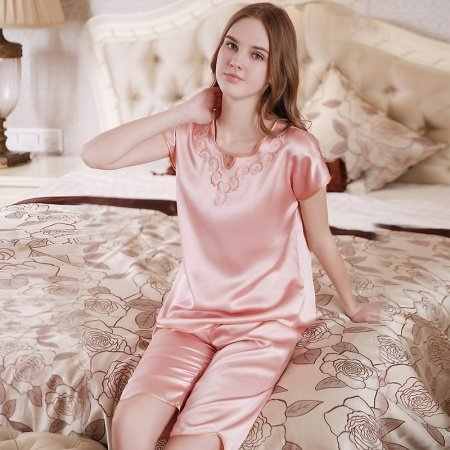 Baby Pink 100% Nature Silk Embroidered Short Sleeve Knee Length 2 Pieces Elegant Pajama Set for Feminine Girly M L XL
