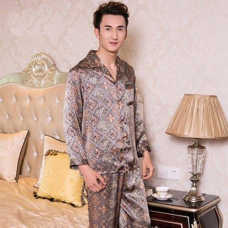 Coffee Plaid Checkered Long Shirt and Pants Luxury Modern Chic 100% Chinese Silk Pajamas for Men Boys L XL XXL