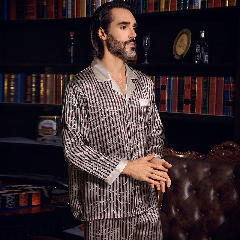 Coffee Lapel Open Collar Long Sleeve Shirt Trousers 100% Pure Silk Luxury Pajamas for Men L XL XXL