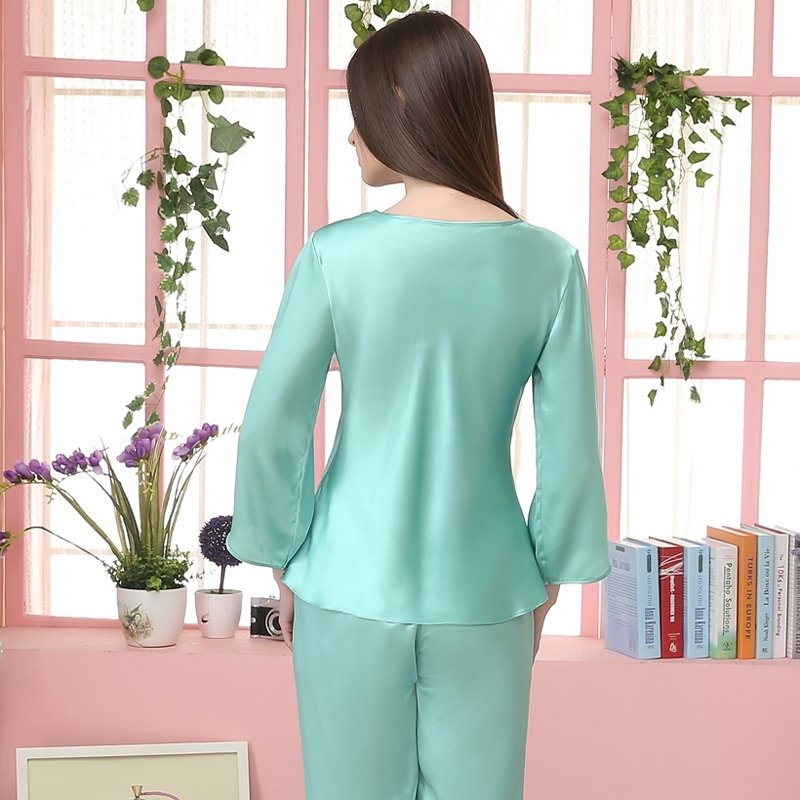Plain Green Embroidered V-neck 3/4 Length Sleeve 2pc 100% Pure Silk Luxury Silky Spring Summer Pajamas for Girls M L XL XXL