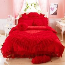 Hot Red Victorian Rose Ruffle Design Lace Trim Embroidered Design Princess Style Cute Girly Full, Queen Size Bedding Sets