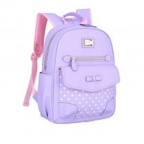 Purple Faux Leather with Bow Girls Flap School Backpack Stylish Polka Dot Sewing Pattern Bottom Studded Pupil Preppy Campus Book Bag