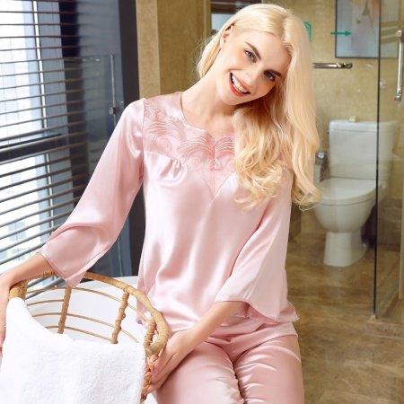 Plain Pink Luxury Elegant Embroidered 2pc 100% Pure Silk Spring Autumn Pajamas for Women M L XL XXL