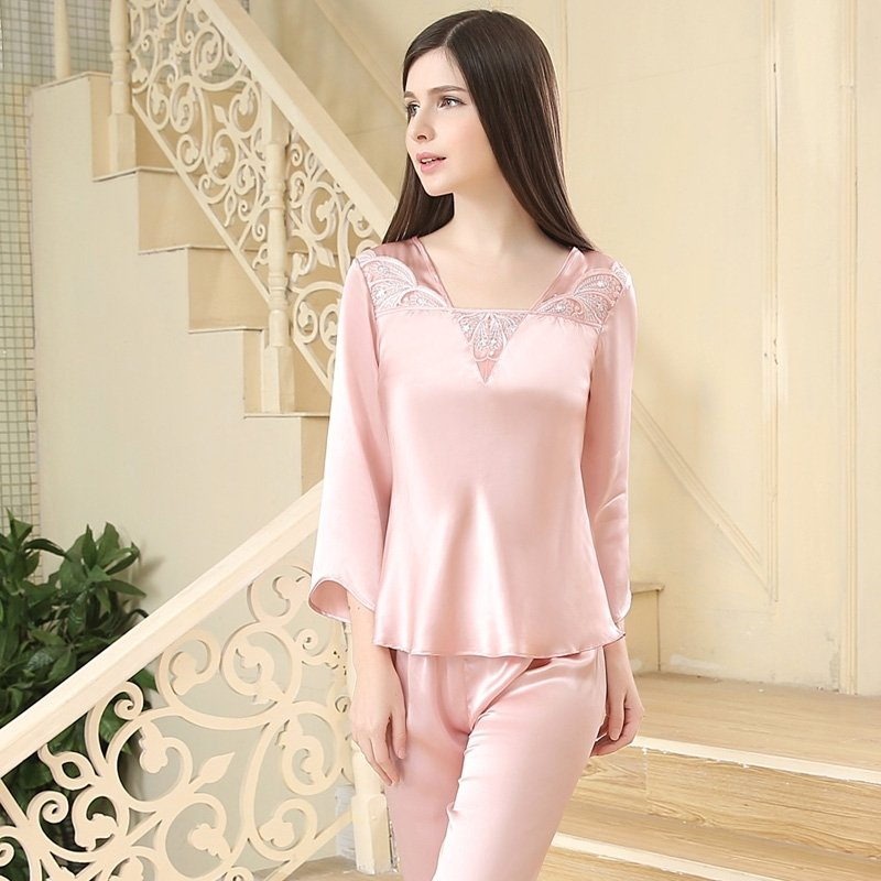 Plain Pink Embroidered V-neck 3/4 Length Sleeve 2pc 100% Pure Silk Luxury Silky Spring Summer Pajamas for Girls M L XL XXL