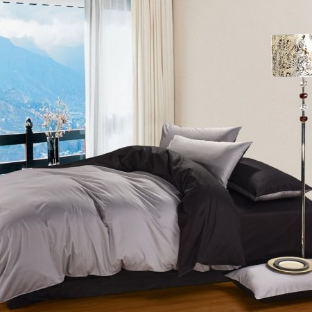 Gray and Black Simply Shabby Chic 100% Cotton Satin Full, Queen Size Bedding Sets