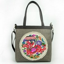 Colorful Gorgeous Khaki Brown Canvas with Gray Handle Lady Tote Personalized Animal Dog and Rosette Pattern Crossbody Shoulder Bag