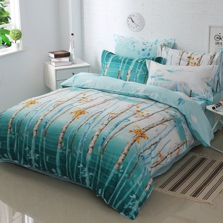 Teal Umber Brown and Pale Gray Tree Branch Print Wildlife Style Rustic Chic Natural 100% Cotton Full, Queen Size Bedding Sets