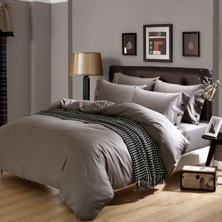 Solid Gray Pure Colored Shabby Chic Old World Masculine Style 100% Organic Cotton Twin, Full, Queen Size Bedding Sets