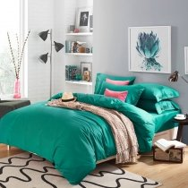 Pure Deep Teal Solid Colored Simply and Fashion Luxury Cotton Twin, Full, Queen Size Bedding Sets