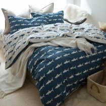 Boys Blue and White Ocean Animal Shark Print Marine Life Personalized 100% Cotton Twin, Full, Queen Size Bedding Sets