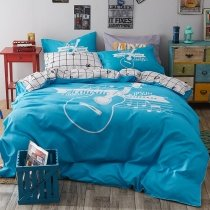 Boys Azure Blue and White Rock Guitar Print Music Note Punk Style Hipster Style Personalized 100% Polyester Full Size Bedding Sets