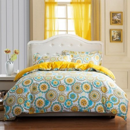 Aqua Yellow and White Aboriginal Pattern Circle Print Vintage Southwestern Style 100% Cotton Full, Queen Size Bedding Sets