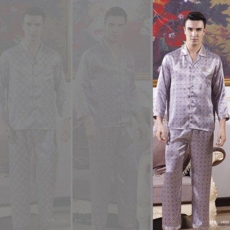 Languid Lavender Quatrefoil Pattern 100% Mulberry Silk 2 Pieces Luxury Pajamas for Masculine L XL XXL