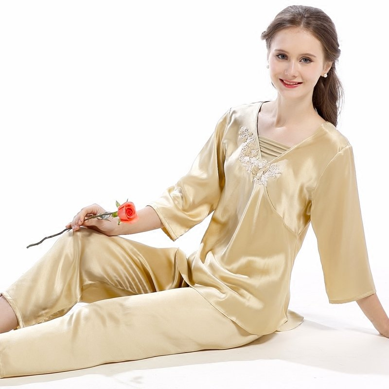 Pale Gold 100% Chinese Silk Long Shirt with Flower 3D Embroidered Trim and Pants Contracted Pajamas for Feminine Girly M L XL