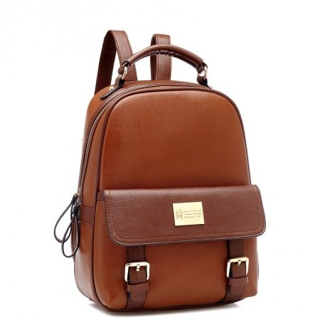 Vintage Brown Distressed Leather Elegant Women Casual Travel Backpack Punk Rock and Roll Sewing Pattern Sequin School Campus Book Bag