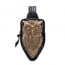 Black Leather Embossed Metallic Gold Owl Girls Travel Sling Backpack Vintage Punk Style Rhinestone Small Crossbody Shoulder Chest Bag