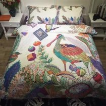 Bright Colorful Bird and Flower Print Tropical Rustic Style Natural 100% Egyptian Cotton Full, Queen Size Bedding Sets