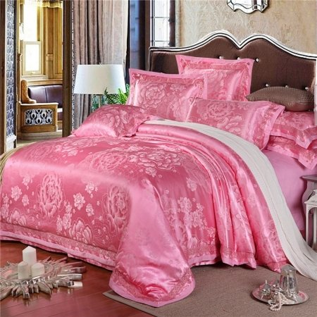 Girls French Rose Color Sparkly Blossom Pattern Garden Images Oriental Style Trendy Jacquard Satin Full, Queen Size Bedding Sets