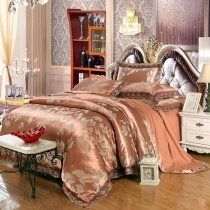 Burnt Umber and Copper Vintage Leaf Pattern Rustic Style Old Fashion Sparkle Boutique Jacquard Satin Fabric Full, Queen Size Bedding Sets