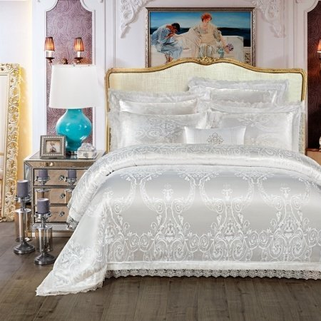 Sparkly Silver White Scroll Pattern Victorian Lace Design Wedding Themed Luxury Jacquard Satin Full, Queen Size Bedding Sets