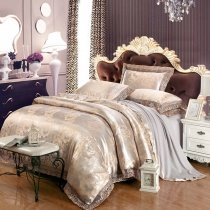 Silver and Pale Yellow Vintage Floral Pattern Sequin Shabby Chic Jacquard Satin Full, Queen Size Bedding Sets