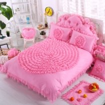 Girls Hot Pink Victorian Lace Design Rosette Pattern Elegant Princess Style 100% Cotton Twin, Full, Queen Size Bedding Sets