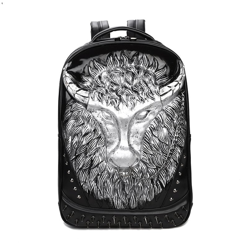 Black Leather Embossed Metallic Silver Buffalo Cool Boys School Book Bag Punk Rock and Roll Style Spike Rivet Studded Travel Backpack