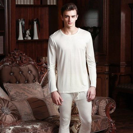 Plain White 100% Nature Silk 2 Pieces Crewneck Long Shirt Trousers Baggy Casual Pajamas L XL XXL