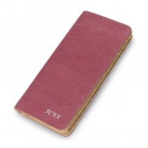 Durable Solid Burgundy Red Canvas Women Long Bi-fold Wallet Personalized Sewing Pattern Korean Style Clutch Purse