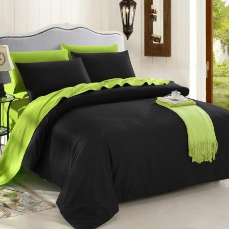 Trendy Black And Lime Green Solid Colored Reversible 100