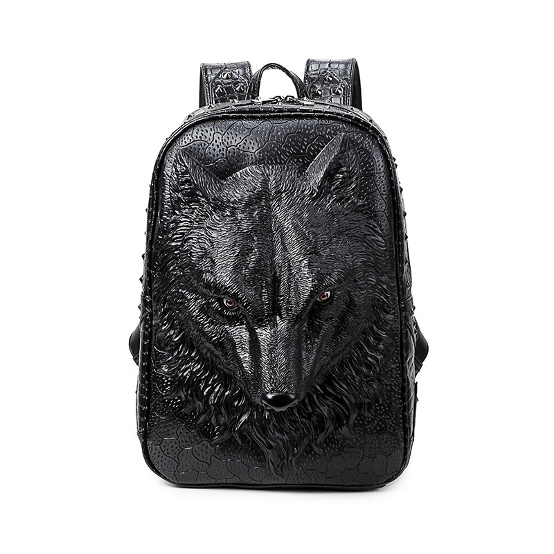 Vintage Black Patent Leather Embossed Wolf Head Travel 14 Inch Laptop Backpack Punk Rock and Roll Rivet Studded School Book Campus Bag