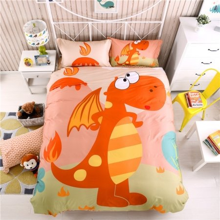 Flame Orange Yellow Coral and Blue Jurassic Dinosaur Print Cartoon Animal 100% Cotton Twin, Full Size Bedding Sets for Children