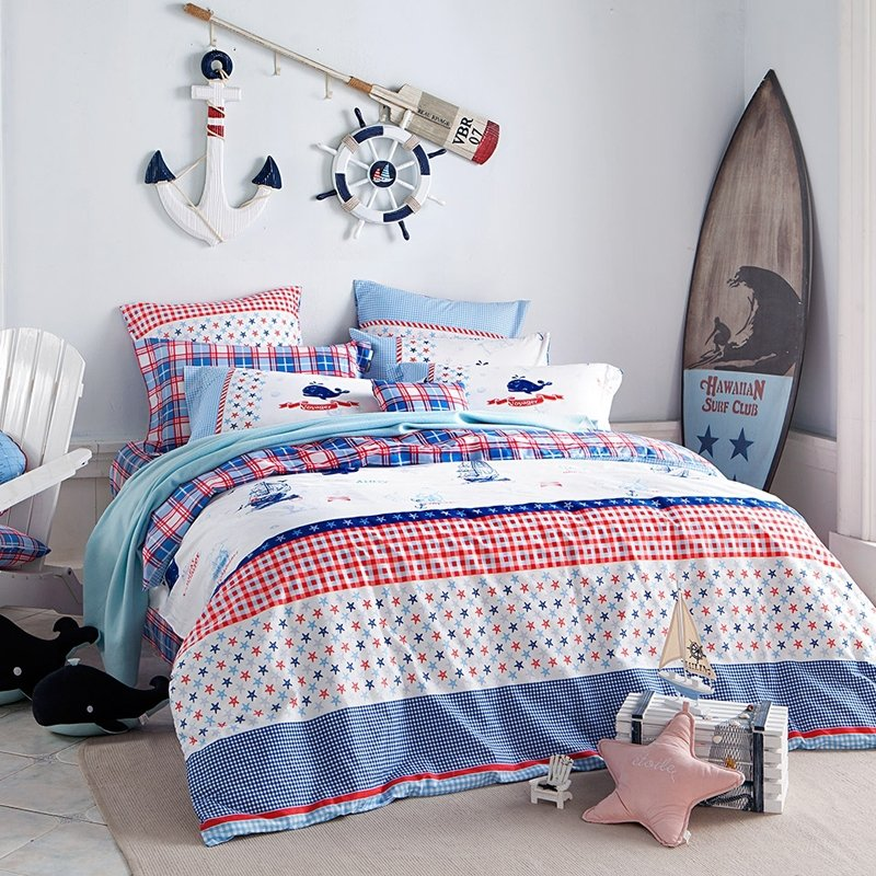 Boys Navy Blue Red and White Sailboat, Stripe and Star Print Nautical Style Full, Queen Size Bedding Sets